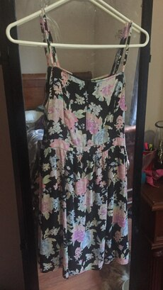 black pink and teal floral tank dress