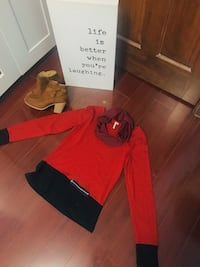 Navy and Red Sweater Top with Matching Scarf- Size S Mississauga, L5B