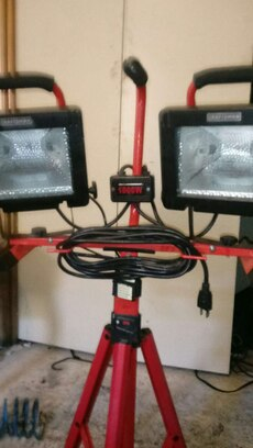 black and red worksite lights