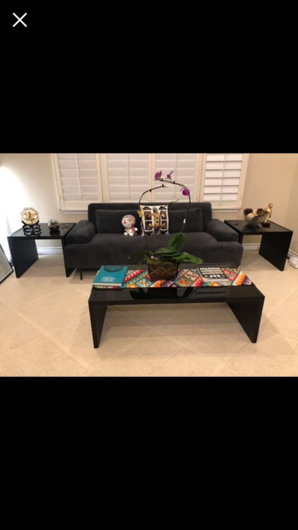 3-piece living room coffee table furniture set black not west elm cb2