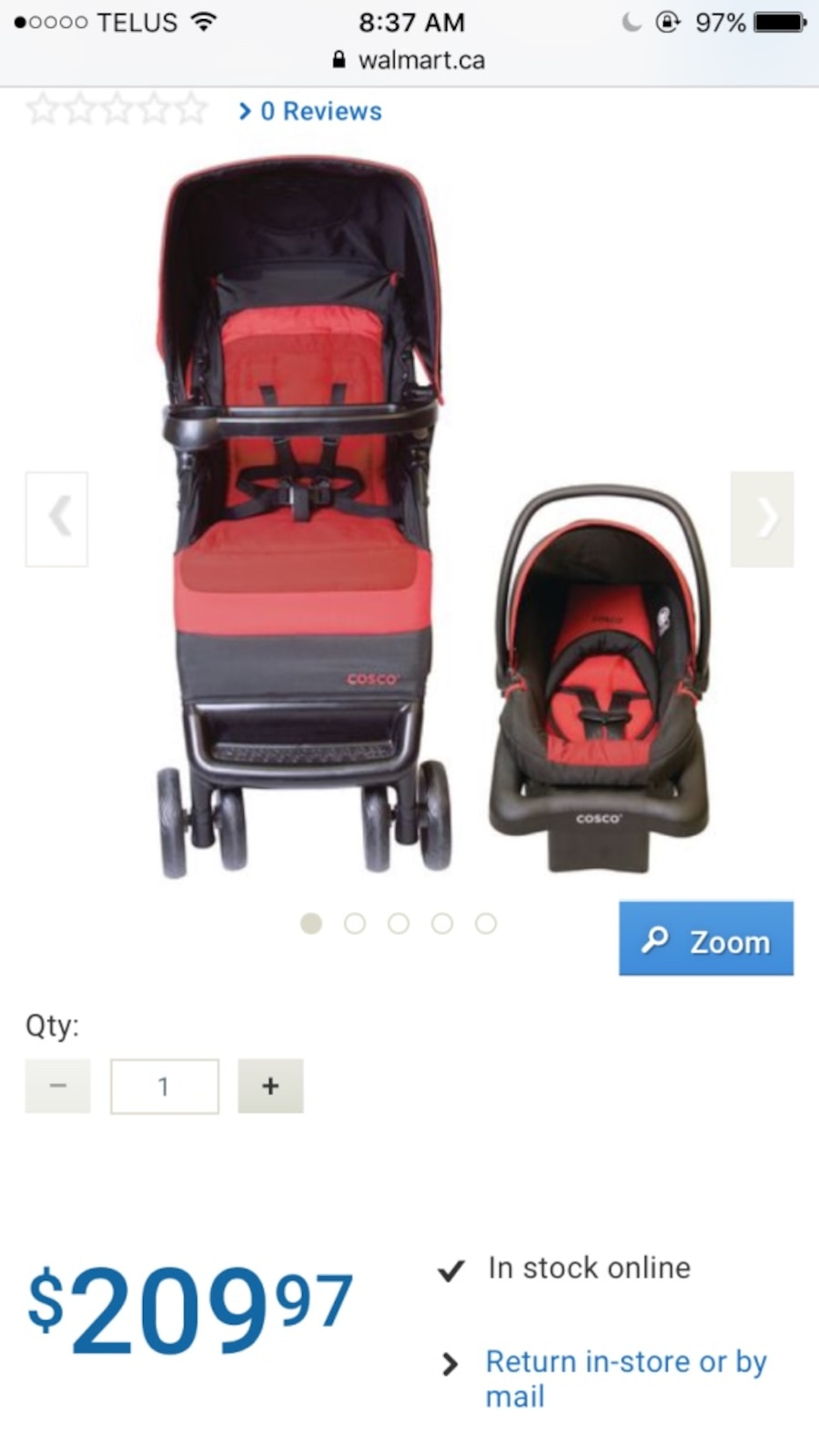Used Cosco Juvenile Simple Fold Bright Flame Travel System in Calgary