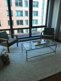 Coffee table and side table set - metal and glass