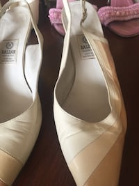pair of white leather pointed-toe heels Toronto, M9C 5J5