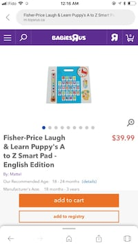 Brand new Smart pad A to Z (learning toy) Toronto, M2K 0B9