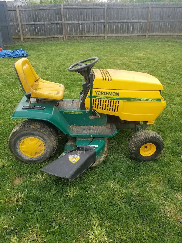 Used Yellow And Green Yard Man Ride On Lawn Mower For Sale