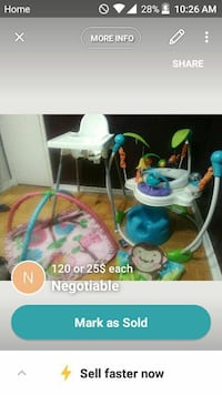 baby's white highchair and; jumperoo and play mat screenshot