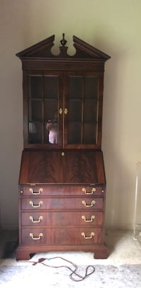 secretary desk with bookcase