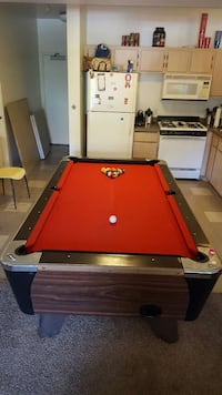 red and brown billiard table