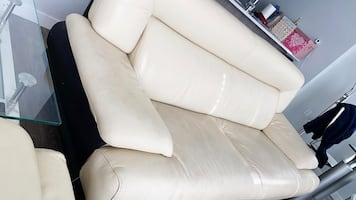 2 LightCream Loverseat Couches + 1 Office Chair