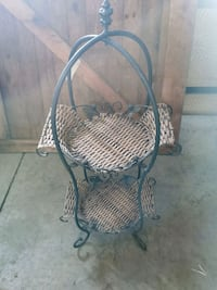 Vintage wicker & iron stand