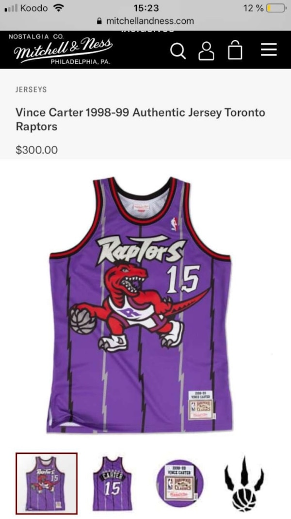 a732fd32d727 Authentic Mitchell   Ness Toronto Raptors 98-99 Vince Carter Jersey.  Mississauga