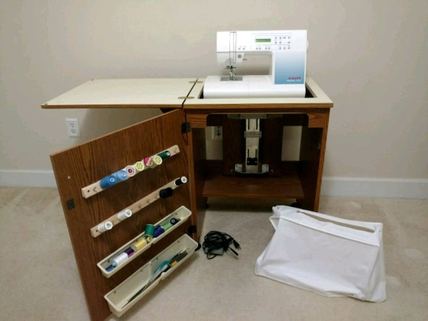 Singer Sewing Machine and Oak Sewing Cabinet