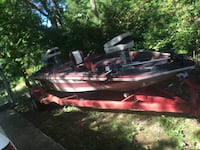 red and white outboard motor boat Rogers, 72756