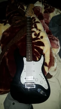 black and white stratocaster electric guitar Calgary