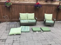 2 Piece wicker conversation set with extra chair and cushions Oakville, L6H 6L4