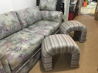 Sectional and 2 stools. Free for pick up