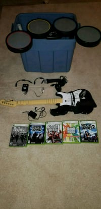 Rock band, guitar, microphone, drums, wires Plainfield
