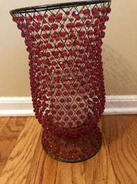 Burgundy S/2 Red Beaded Hurricane Candle Holder  Toms River, 08753
