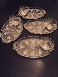 $22 for all 8 pieces Glass Snack Plate & Cup Set