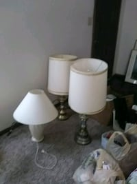 One white and two blue and gold lamps. Enid, 73701