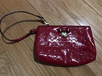 Red leather coach wristlet medium size