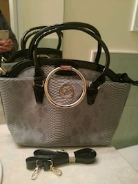 black and gray leather tote double bag Mississauga, L4Z 4K5