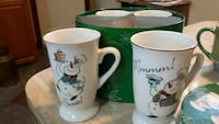 two white snowman printed ceramic mugs Belleville, K8N 3H9