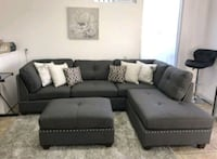 Brand New Grey Linen Sectional Sofa Couch +Ottoman Silver Spring, 20910