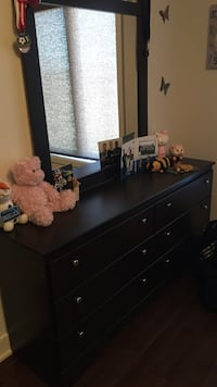 black wooden dresser with mirror Terrebonne, J6V 0C1