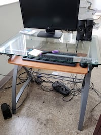Glass computer desk w/pull out keyboard tray null, 11207