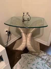 Marble glass coffee table and side table