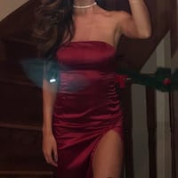 Satin Red Dress with side slit Vaughan