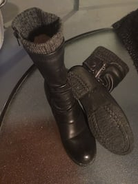 Pair of black leather boots used only twice size 9 Edmonton, T6K 1X6