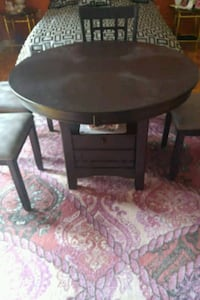 round black wooden side table Montreal, H3J