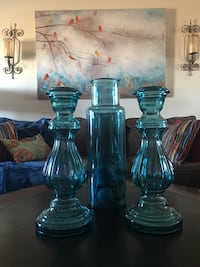 A Beautiful set of two candleholders and one vase.   College Station, 77840