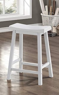 "2 Monarch Specialties Saddle Seat 24"" Barstool - White, Set of 2"