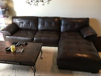 Brown leather L shaped couch Abilene, 79601