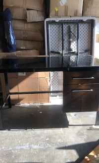 Desk glass top with drawers