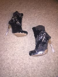 Brand new sequin silver and black booties