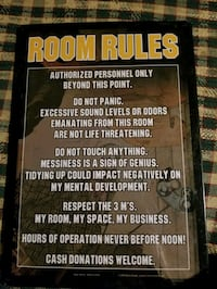 Man cave or kids room room rules sign Essex, 21221