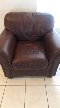 brown leather sofa chair with ottoman North Las Vegas, 89031