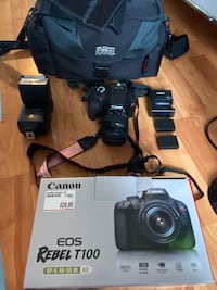 Canon REBEL T100 Camera + Flash, 2 batteries + accessories