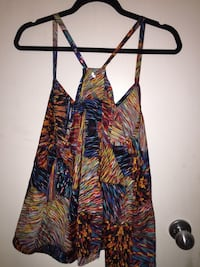 Women's bright coloured summer top.  Vancouver, V6M 4C5