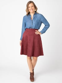 Faux Suede Skirt Oxblood