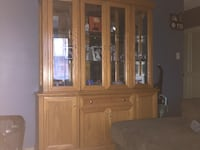brown wooden framed glass display cabinet Edmonton, T5P 4V1