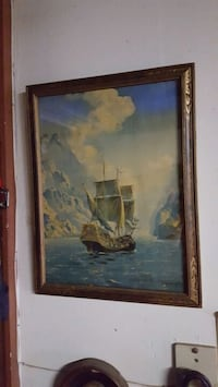 Painting, vintage ship painting