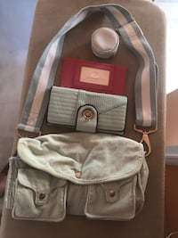 gray and brown leather crossbody bag Montréal, H3H