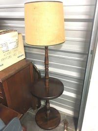 brown wooden base with brown lampshade floor lamp Fenton, 63026