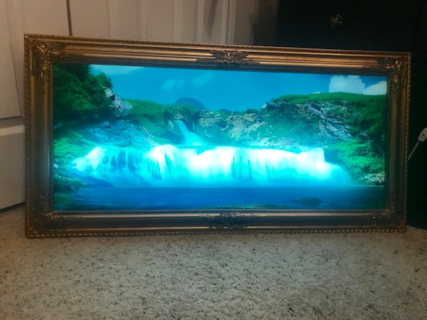 Used Vintage Lighted Motionsoundmoving Waterfall Picture Lamp