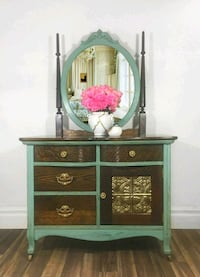 green and brown wooden dresser with mirror Wasaga Beach, L9Z 0C8
